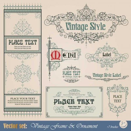 Frame-border-ornament-and-element-in-vintage-style-vector-set-5-450x450