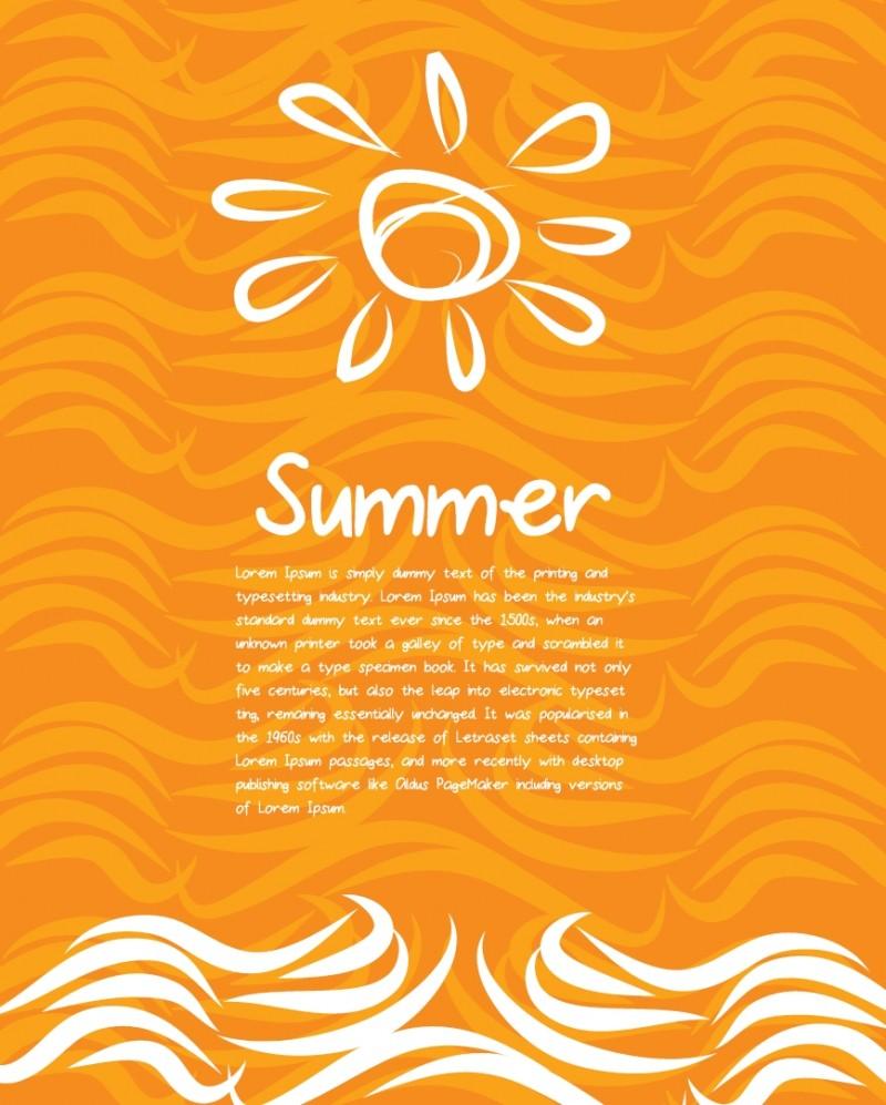 夏の太陽をモチーフにしたカード・ポスター用ベクター無料背景素材3個