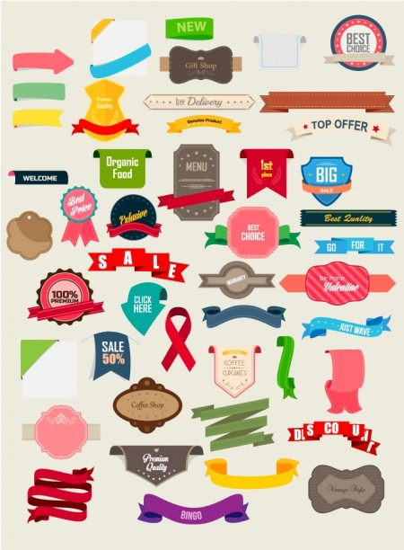 Free Vector Pack- Vintage Ribbons and Labels