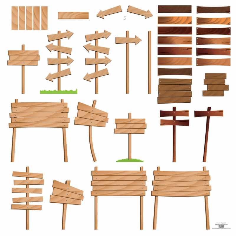 文書にアクセント!木製の案内板ベクターイラスト素材(eps) - free style