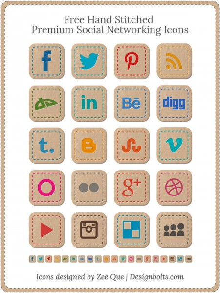 Free-hand-stitched-premium-social-networking-icons