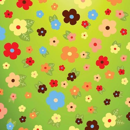 Fresh Flowers Vector シックな飾り罫とポップな背景イラスト。フリーベクター素材   Free Style