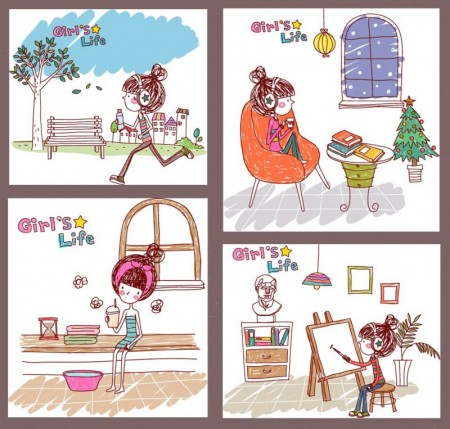 Girl life vector eps girl life 10