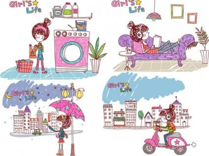 Girl life vector eps girl life3