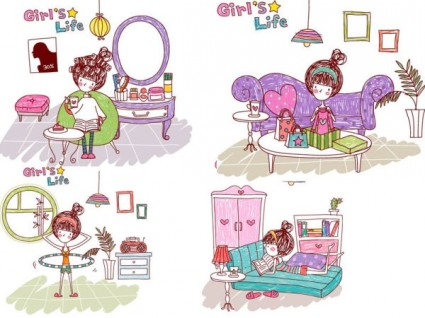 Girl life vector eps girl life8