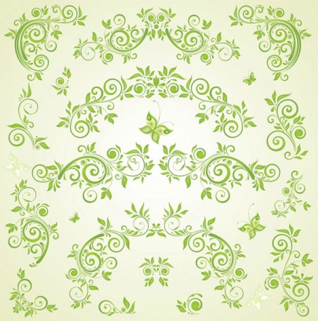 Green-Butterfly-European-pattern-vector-material-450x453
