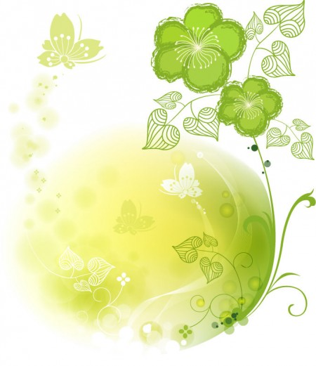 Green Floral Vector Abstract Illustration