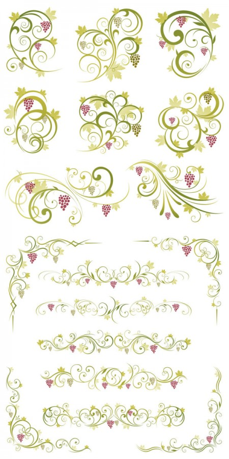 Green-lace-pattern-vector-material-450x900