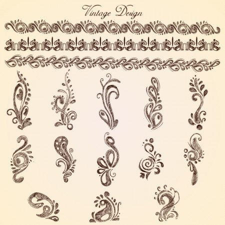 Handwriting European lace pattern vector 02