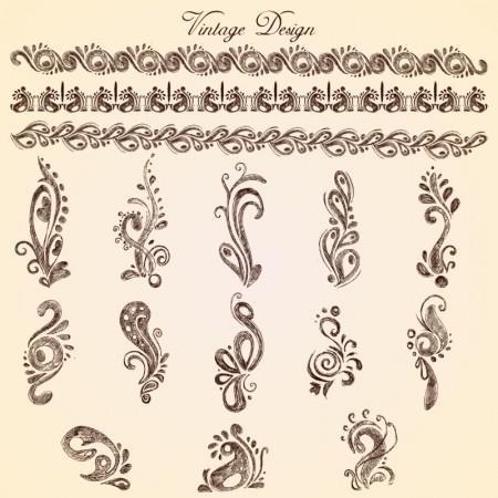 Handwriting-European-lace-pattern-vector-02-450x450