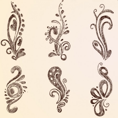 Handwriting European lace pattern vector