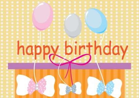 Happy Birthday card with baloons
