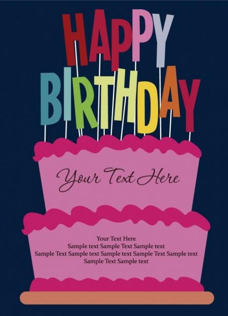 Happy birthday postcard vector (3)