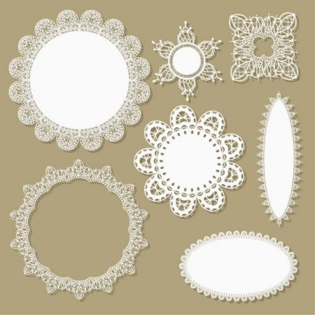 Hollow floral Ornaments and lace vector 01 2 450x450 可愛い!レースモチーフの無料ベクターガーリー素材。2set(商用可・AI・EPS)   Free Style