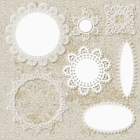 Hollow floral Ornaments and lace vector 01 450x450 可愛い!レースモチーフの無料ベクターガーリー素材。2set(商用可・AI・EPS)   Free Style