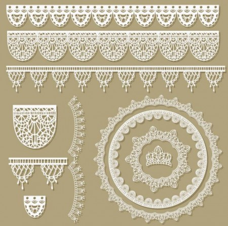 Hollow floral Ornaments and lace vector 02 2 450x447 可愛い!レースモチーフの無料ベクターガーリー素材。2set(商用可・AI・EPS)   Free Style