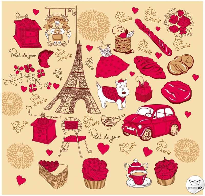 パリな感じでおしゃれなスケッチ風イラスト素材svgaieps Free