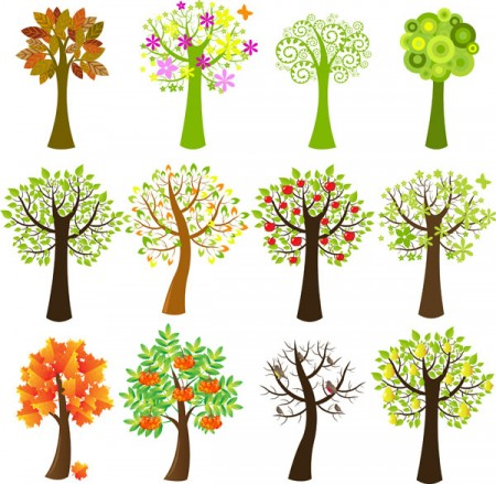 Lovely-tree-vector-material-450x439