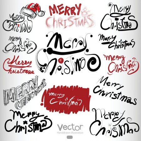 Merry Christmas Personality Font Design Vector