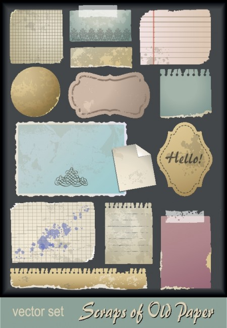 Old paper and vintage post cards vector (2)