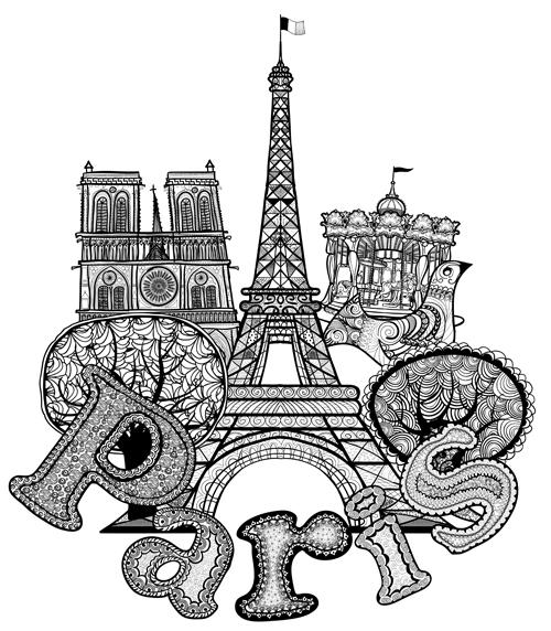 Paris symbols elements vector 02