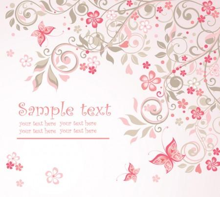 Pink Floral Vector Background