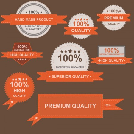 Premium and guaranty quality labels vector (3)
