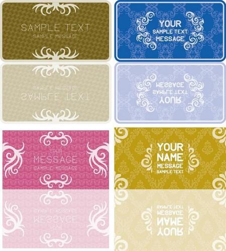 Retro Cards Vector0 450x501 かわいい飾り罫や飾り枠がいっぱい!カード用テンプレート   Free Style