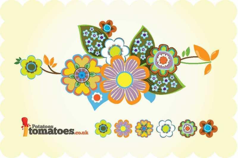 超かわいいレトロ調で手書き風タッチなお花のイラスト素材ai