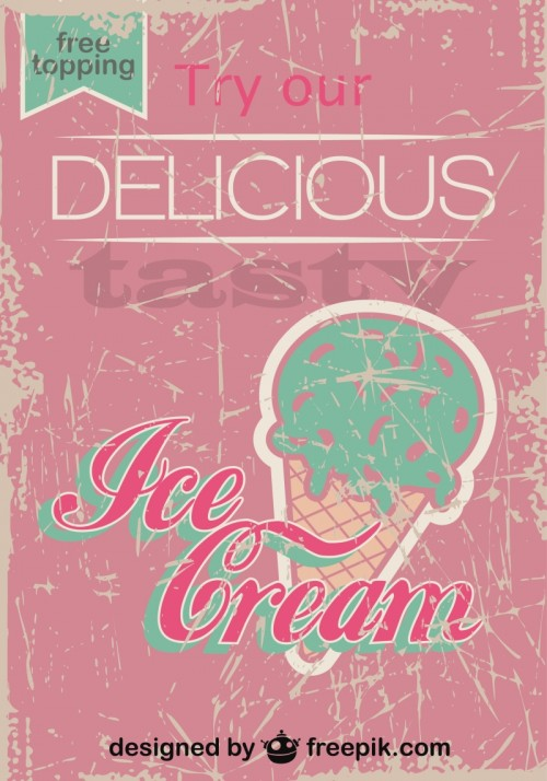 Retro Ice Cream Poster Design Free Topping Vector