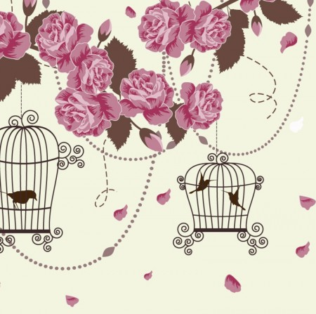 Retro Romantic roses decorative design background vector