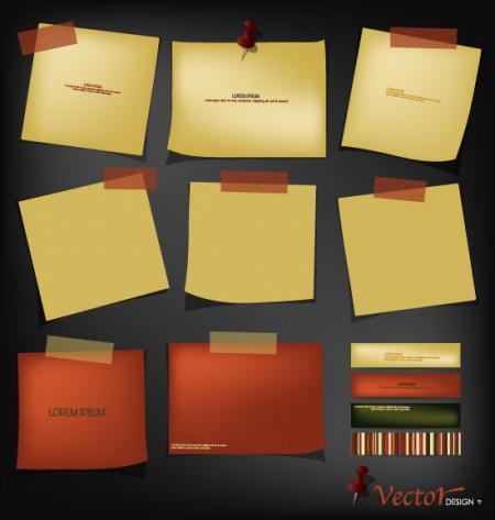Retro paper labels vector 01