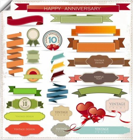 Ribbon vector collection ShareGFX