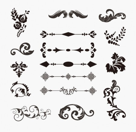 Set-of-Floral-Elements-Vector-450x435