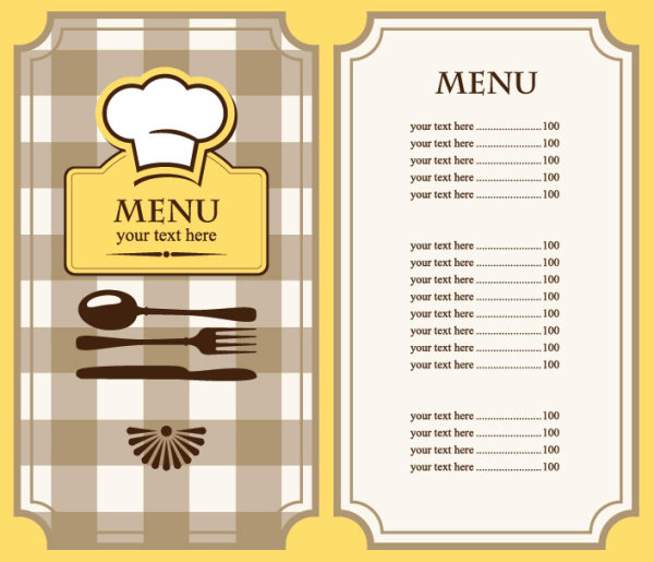 blank menu template .