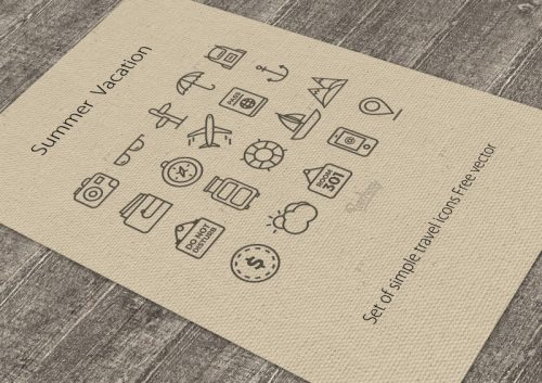 Set of simple travel icons Free vector