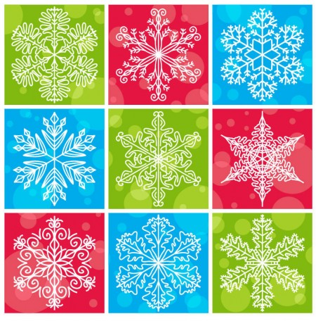 Snowflakes with Colorful Christmas Background