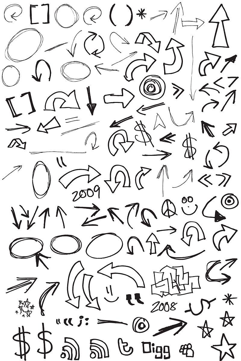 フリーハンドの矢印イラストいっぱい!(ベクターeps) - free-style