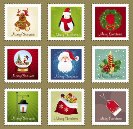 The-Christmas-elements-Stamp-vector-material-01-450x438