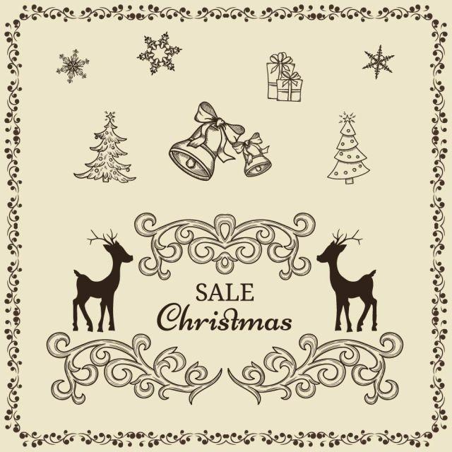 使い道いろいろかわいい系ヴィンテージクリスマス用イラスト素材