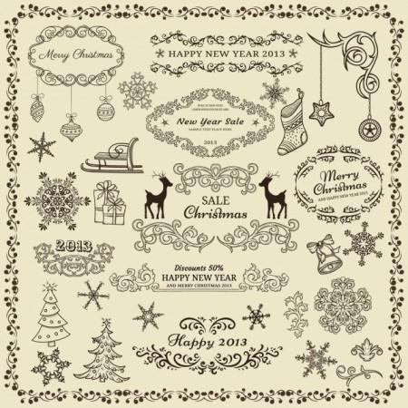 Various-Christmas-decor-elements-vector-set-01-450x450