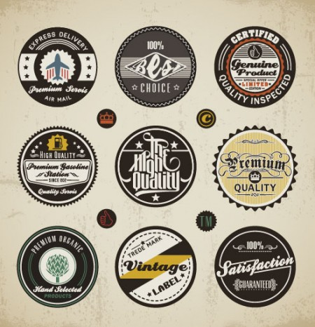 Various elements Vintage labels vector 01