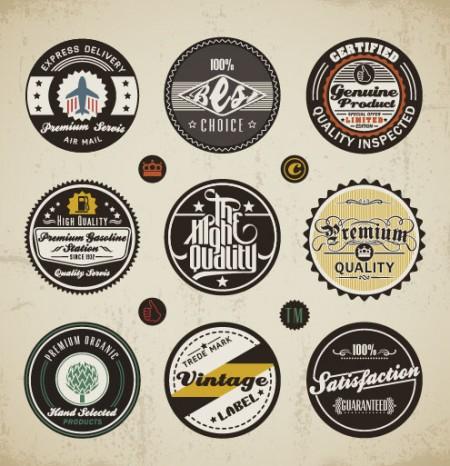 Various elements Vintage labels vector 01