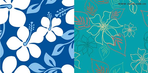 お花が抽象的でアート!継ぎ目なしのシームレスパターン背景素材(vector) - Free Style All Free