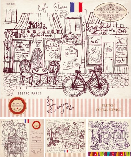 Vector-Vintage-Paris-style-post-card-set-450x539