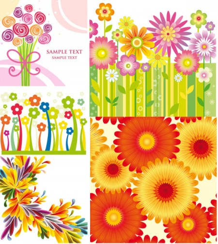 Vector-backgrounds-of-colorful-flowers-450x503