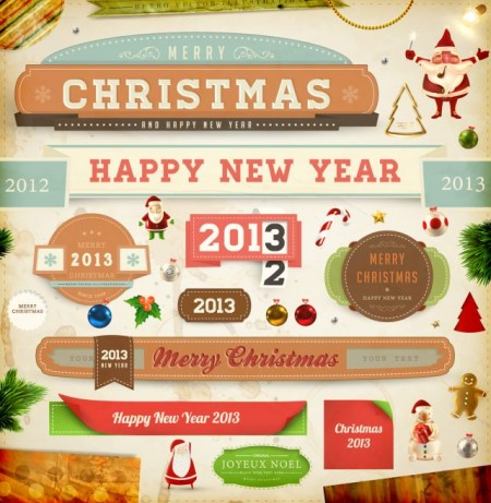 Vintage-Christmas-and-New-Year-2013-Ornaments-vector-03-450x461
