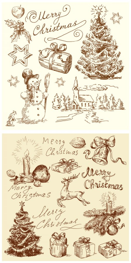 Vintage-Christmas-illustrations-450x900