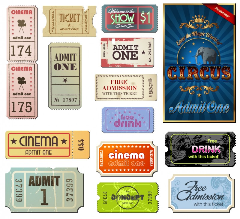 of set of vintage movie ticket with different film related object