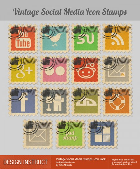 Vintage Social Media Stamps- Icon Pack